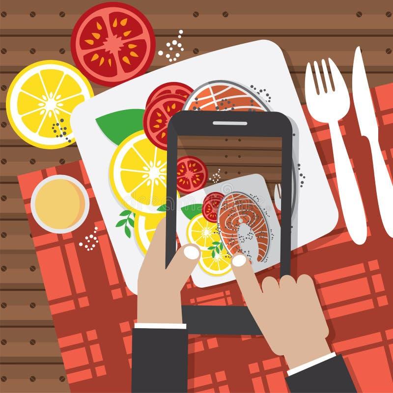 采取食物fotos 拿着智能手机和采取鲑鱼排的Fotos手 皇族释放例证