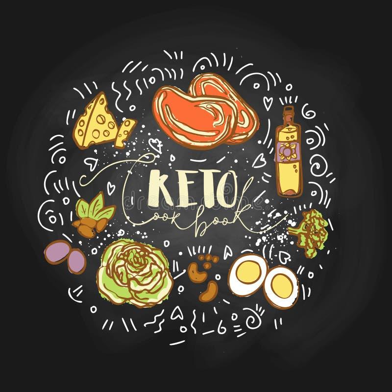 采取Keto挑战食物剪影例证- multy色传染媒介剪影健康概念 健康keto挑战 皇族释放例证