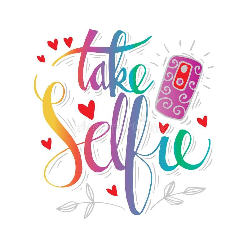 采取Selfie手字法 皇族释放例证