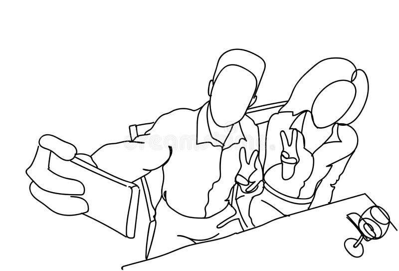 采取Selfie照片约会的男人和妇女在咖啡馆夫妇乱画自画象坐巧妙的电话 库存例证