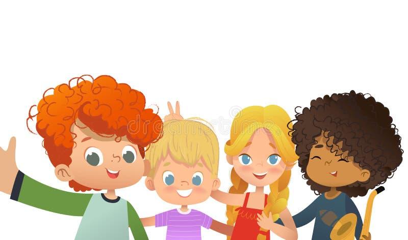 采取selfie的小组朋友 Multicultiral孩子在智能手机射击自己 无所事事在照相机的孩子 库存例证