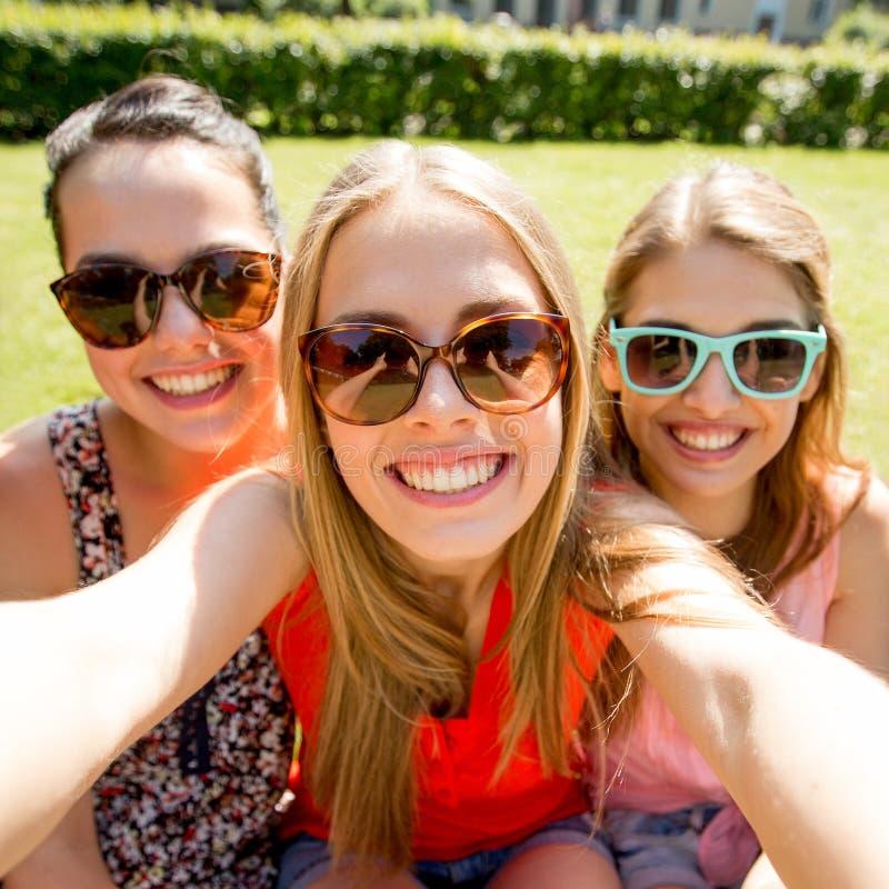 采取selfie的小组微笑的青少年的女孩在公园 免版税图库摄影