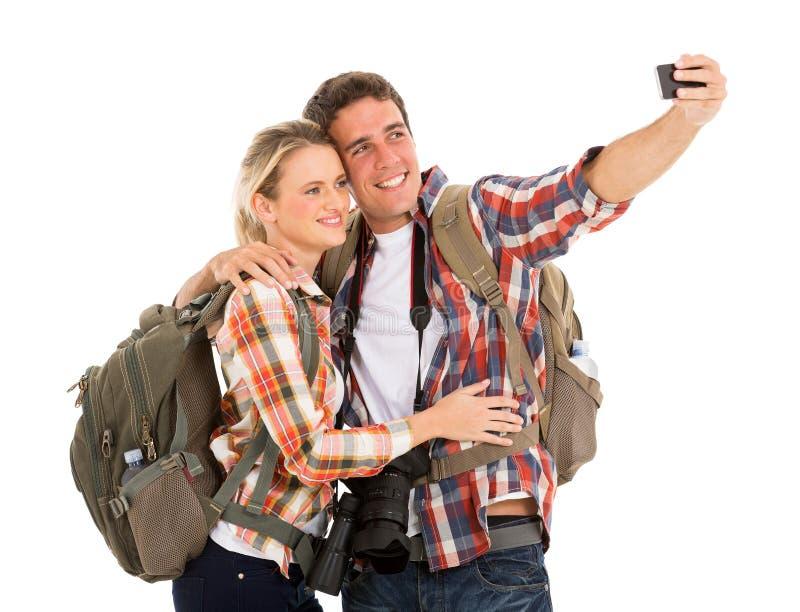 采取selfie的游人 库存照片