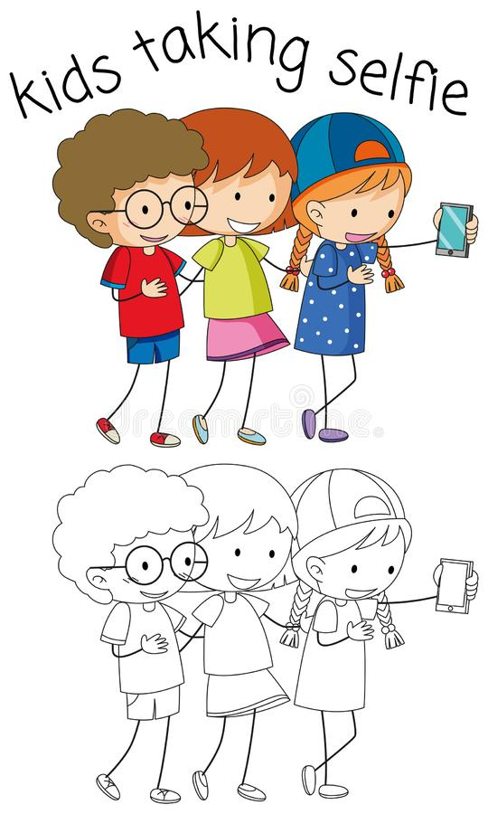 采取selfie的男孩和女孩 库存例证