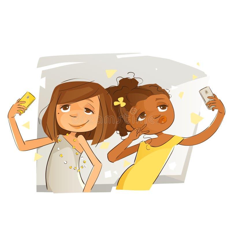 采取selfies的女孩 库存例证