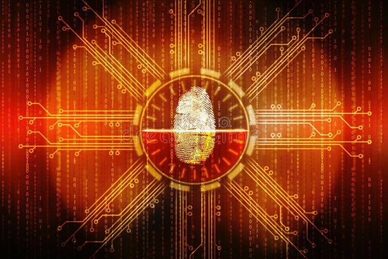 采扫描技术概念例证,网络安全backgrond的指纹 库存例证