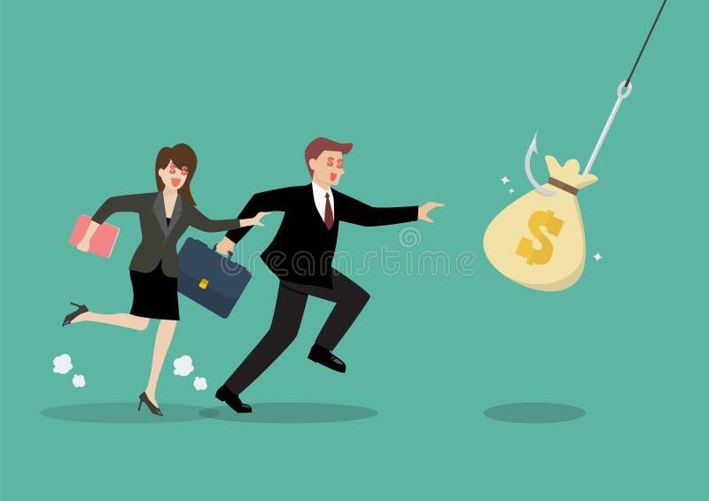 采摘从勾子陷井的金钱袋子的商人和妇女尝试 库存例证