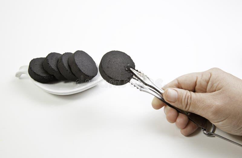 采摘煤炭的手 库存照片