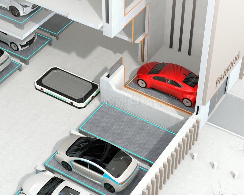 采摘红色汽车的agv对停车位图片