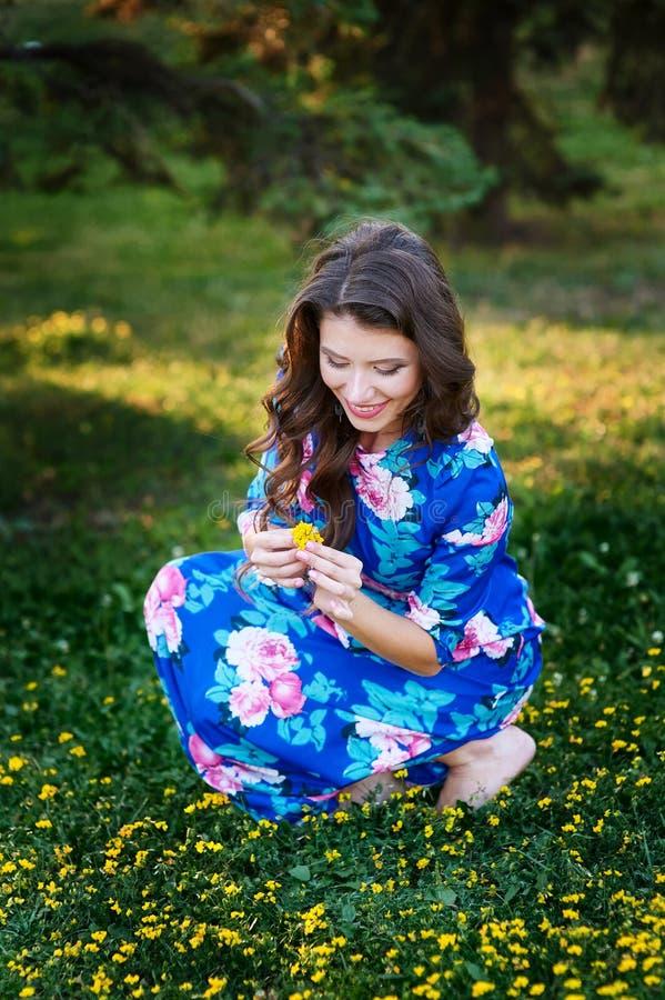 采摘黄色花的美丽的妇女在草甸 库存照片
