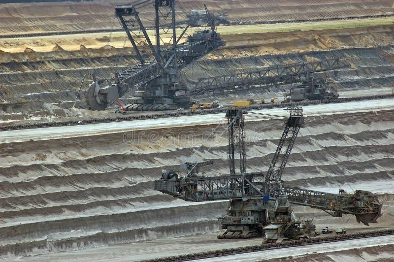 采煤海岸开放挖掘机的最小值 库存照片