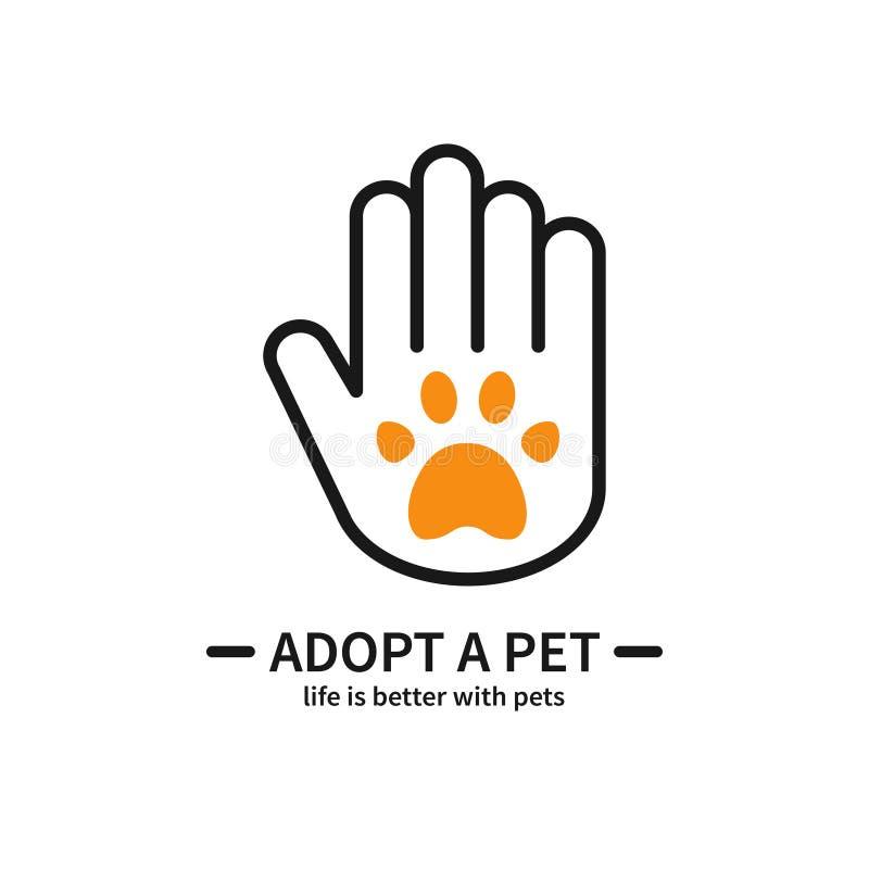 采用宠物 有爪子线的象手 志愿帮助关心保护支持题材 宠物收养标志和标志 皇族释放例证