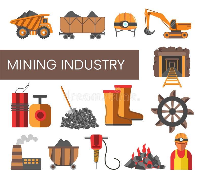 采矿业设备机器和工厂煤矿 向量例证