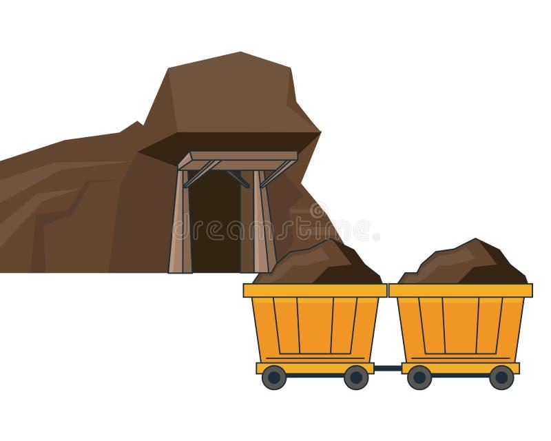 采矿ave和无盖货车推车 向量例证