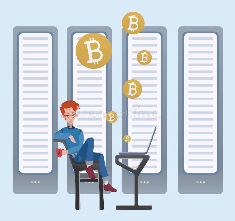 采矿bitcoin概念 坐在计算机的年轻人在服务器屋子 Cryptocurrency采矿农场 向量 皇族释放例证