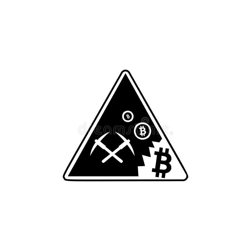 采矿Bitcoin象 流动概念和网络设计的被填装的平的标志 镐和bitcoin硬币简单的坚实象 符号 皇族释放例证