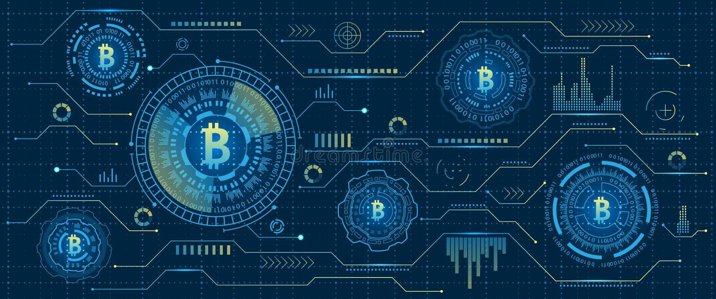 采矿Bitcoin Cryptocurrency,数字式小河 未来派金钱 Blockchain 密码学 库存例证