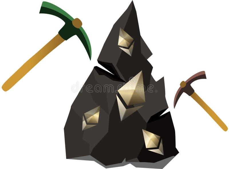 采矿ethereum 皇族释放例证