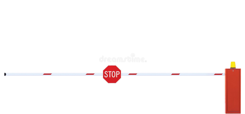 采空区内运输巷障碍特写镜头车行道在白色和红色的门酒吧,高速公路交通收费公路通行费中止车安全点门户 免版税库存照片