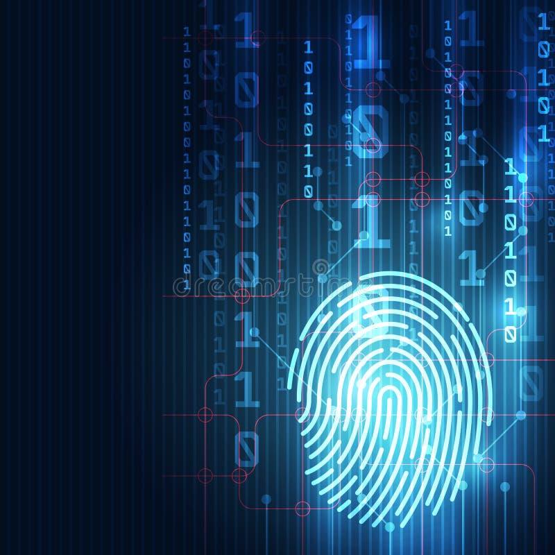 采联合的指纹在一个印制电路,发布二进制编码 指纹扫描鉴定系统 生物统计的作者 皇族释放例证