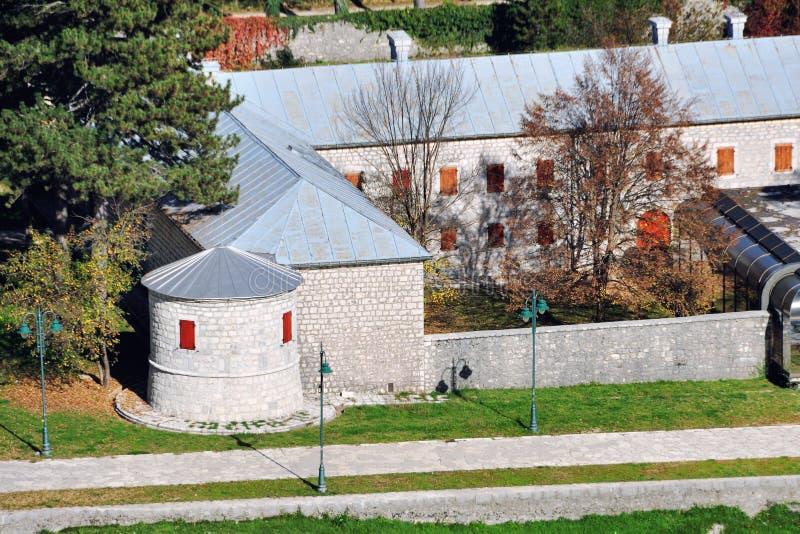 采蒂涅,黑山鸟瞰图  库存照片