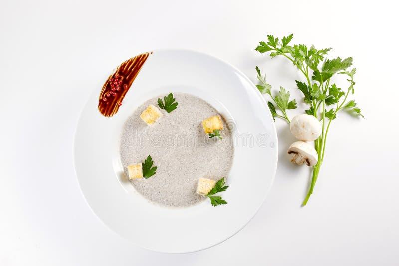 采蘑菇奶油色汤用油煎方型小面包片、草本和香料在白色背景关闭-自创素食主义者素食 免版税图库摄影
