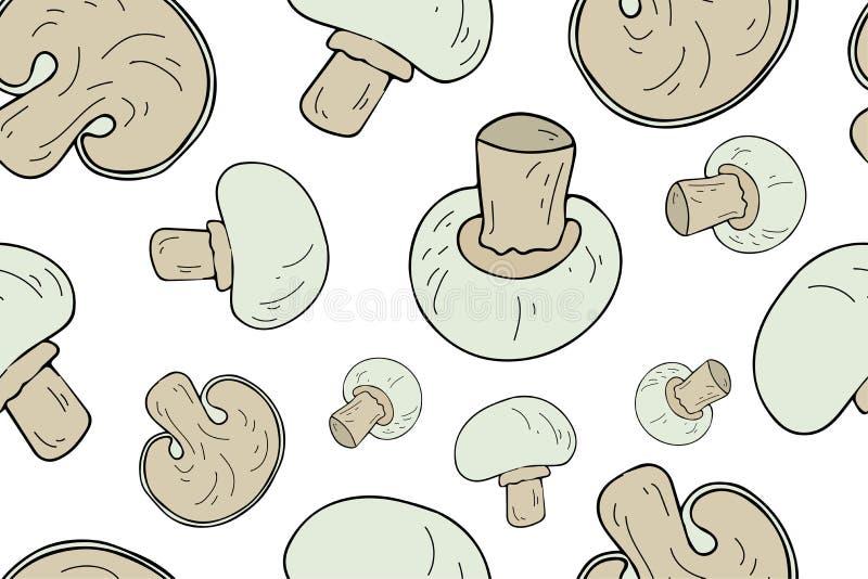 采蘑菇无缝的样式 不尽的纹理 向量例证