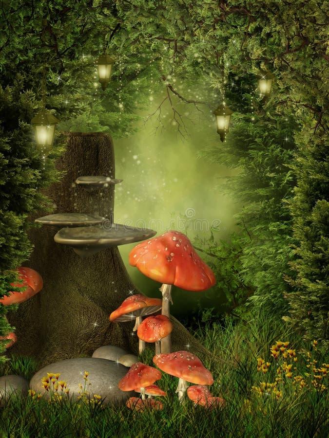 采蘑菇老结构树 库存例证