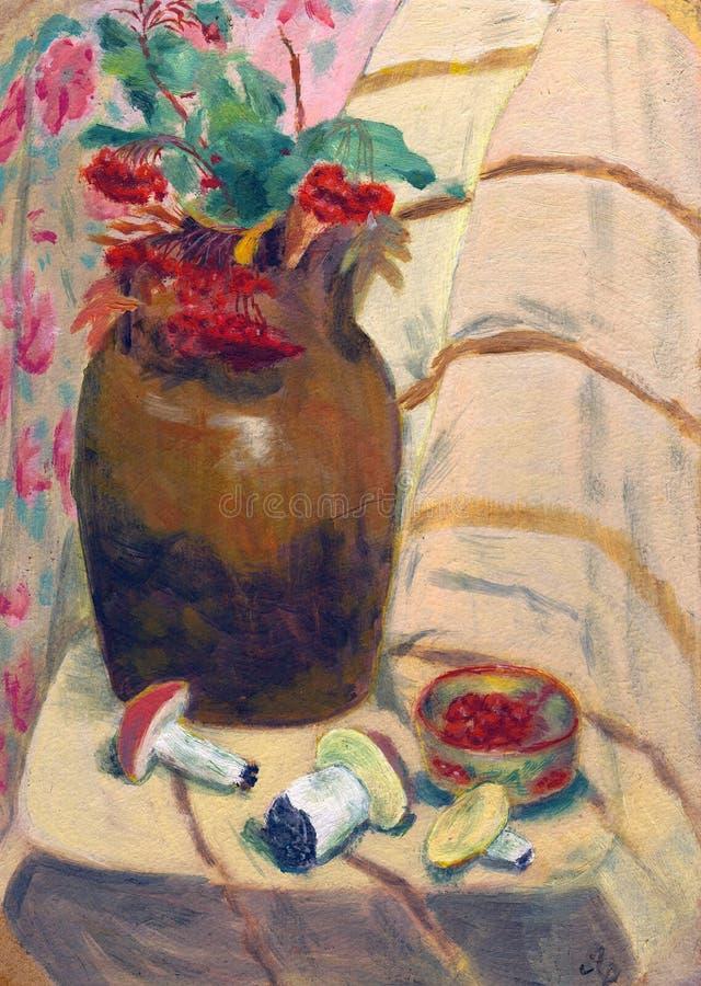 采蘑菇花楸浆果花瓶 库存照片