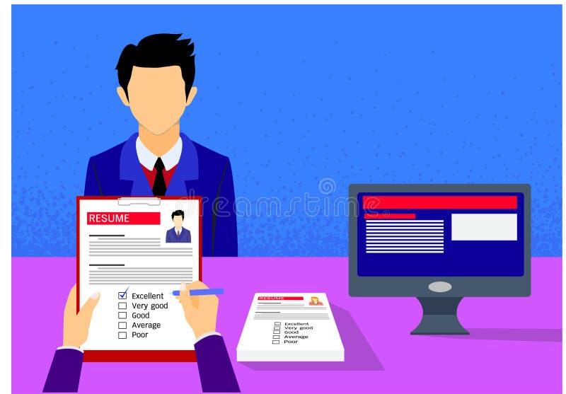 采访和评估有拷贝空间的雇主一名年轻候选人 也corel凹道例证向量 向量例证