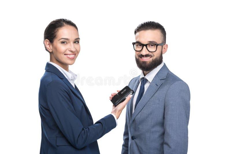 采访微笑的女性的新闻工作者商人, 免版税库存图片