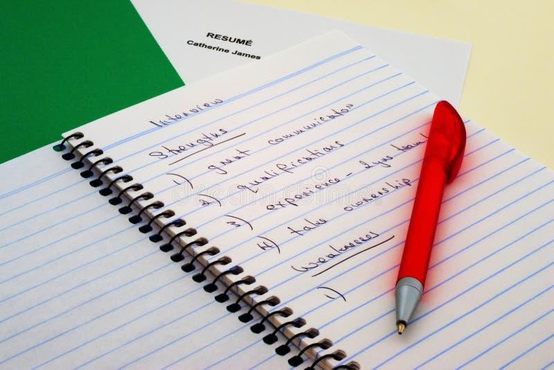 采访笔记和笔 免版税图库摄影
