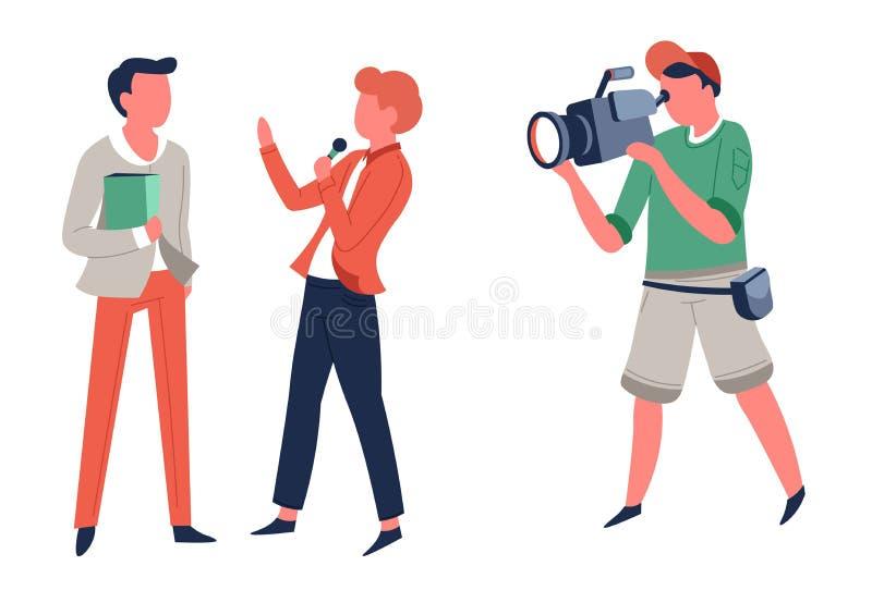 采访记者和操作员电视或者新闻摄制 皇族释放例证