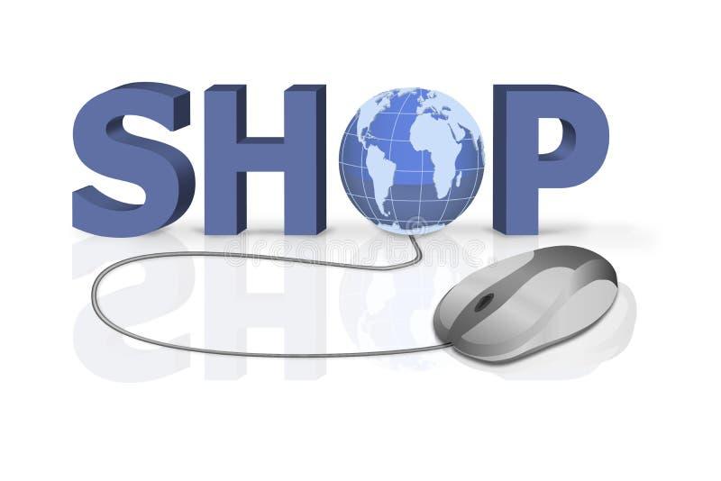 采购家庭互联网在线界面购物 向量例证