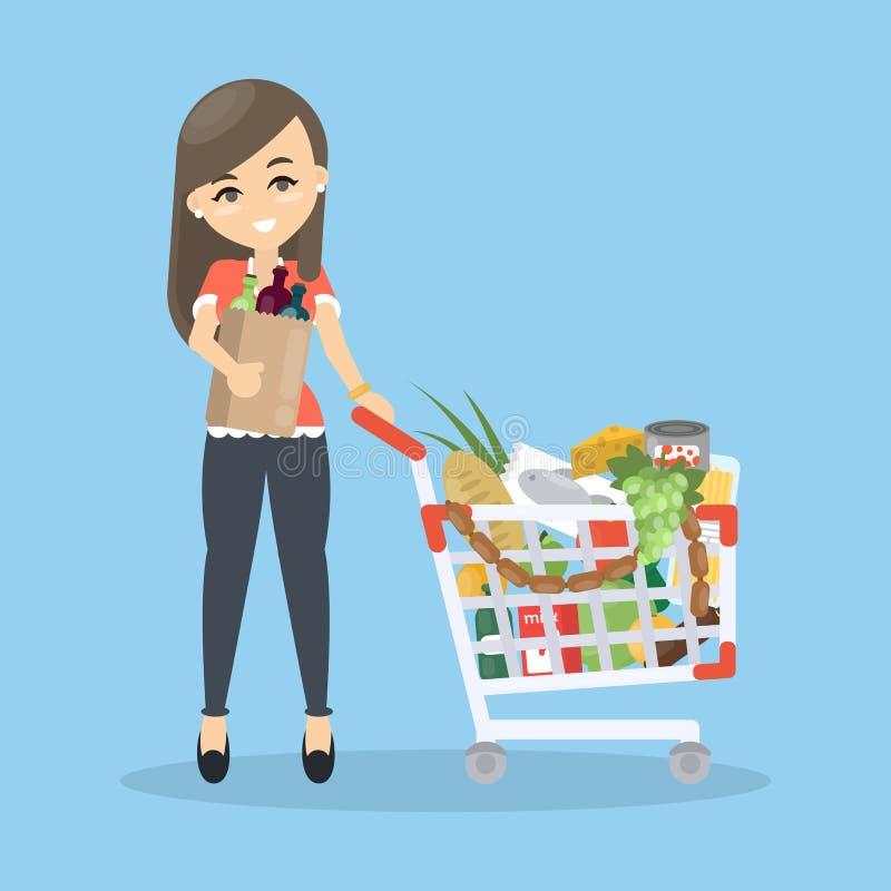 采购的副食品妇女 库存例证