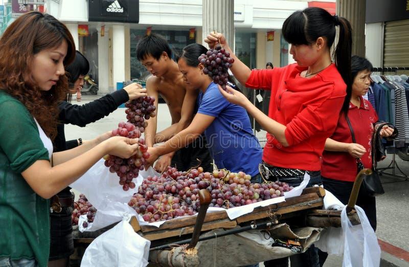 采购的瓷葡萄pengzhou妇女 免版税库存图片