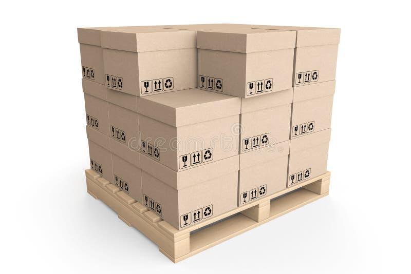 采购管理系统概念。 在木调色板的纸板箱 向量例证