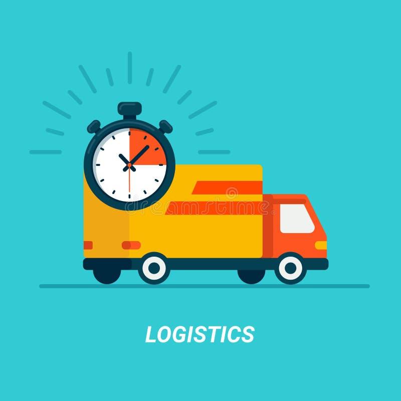 采购管理系统概念 送货业务卡车 在蓝色的平的样式 快速的运输用汽车或卡车 快速处理交货 平的范 向量例证