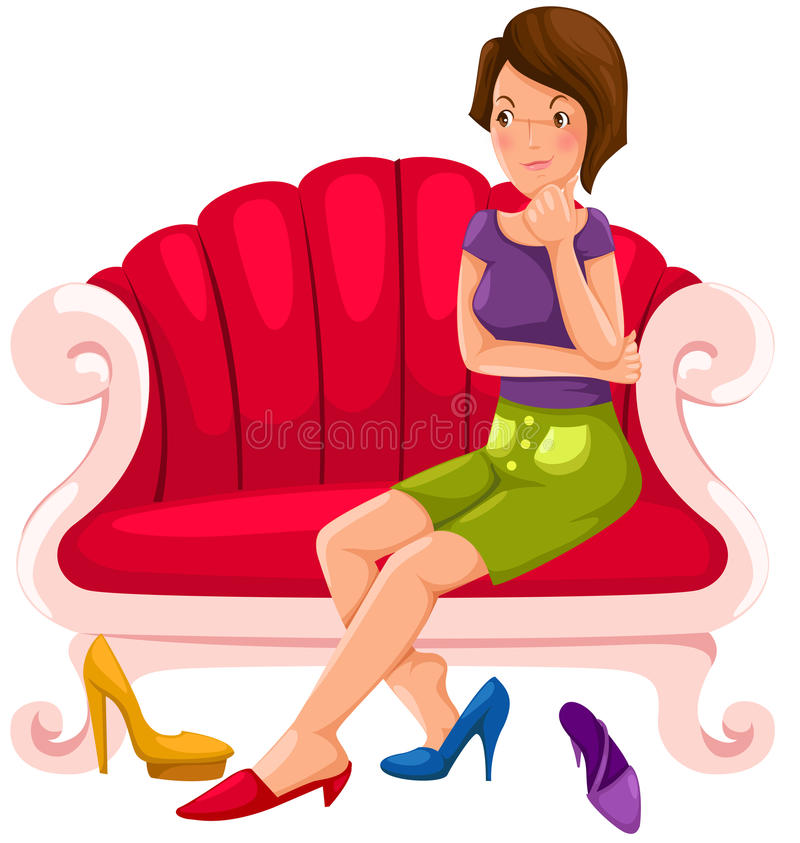 采购认为的女孩鞋子 库存例证
