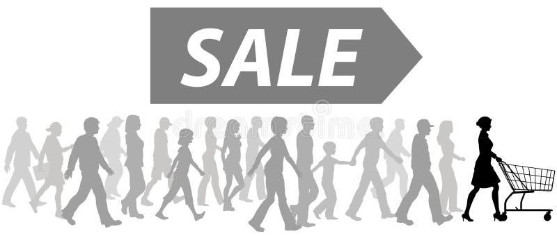 采购购物车领导先锋游行购物的销售&# 皇族释放例证