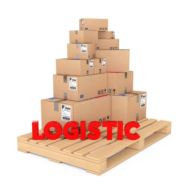 采购管理系统概念 在木调色板的纸板箱有Logist的 向量例证