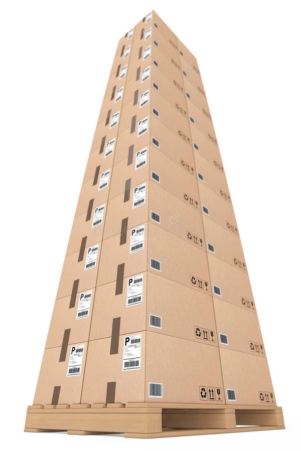 采购管理系统概念 把木纸板的调色板装箱 3D renderi 皇族释放例证