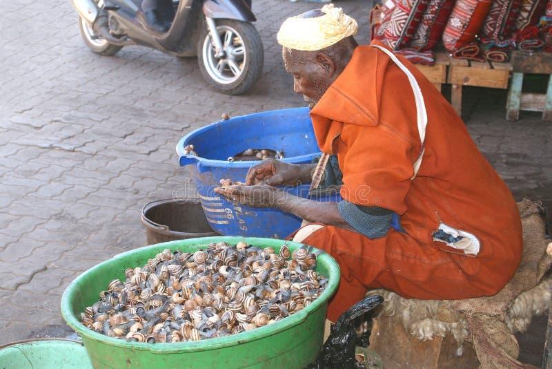 巴巴里人人卖蜗牛在te市场上 库存图片