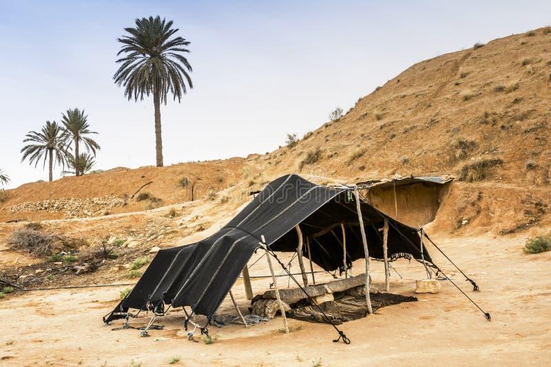 巴巴里人帐篷在撒哈拉大沙漠,非洲 库存照片