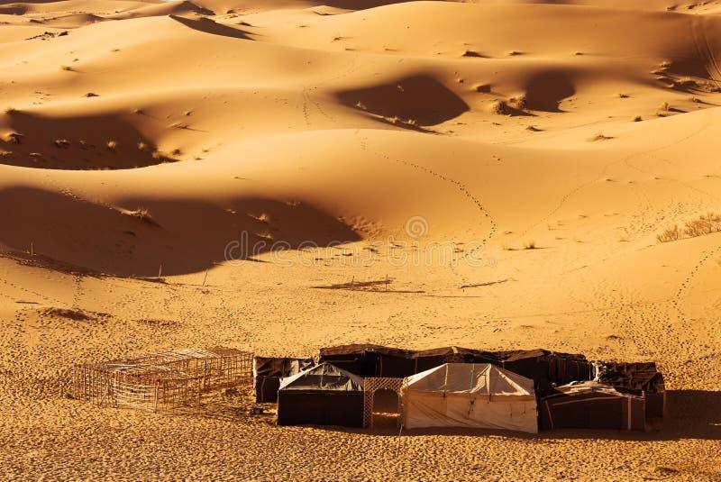 巴巴里人帐篷在沙漠 库存图片