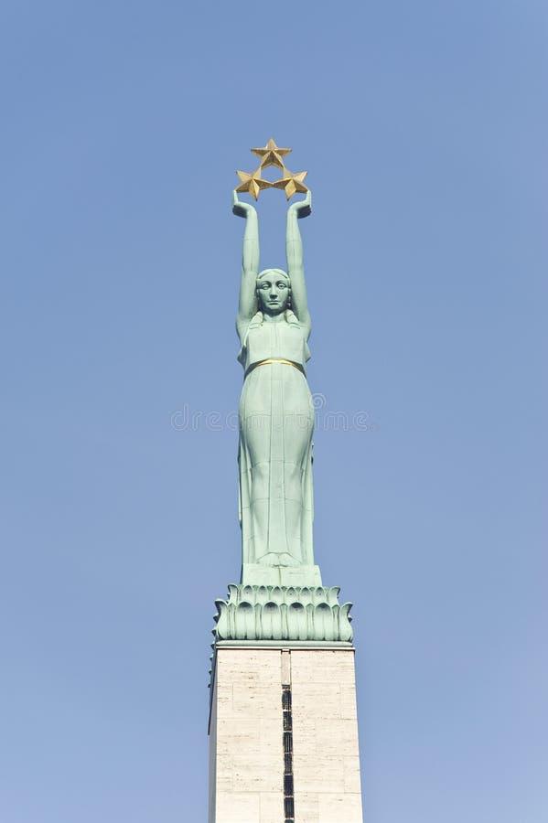 里加。自由纪念碑。片段。 免版税库存照片