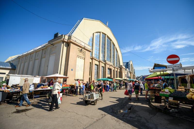 里加主要市场,拉脱维亚 库存照片