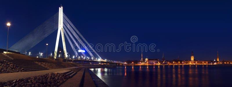 里加全景有桥梁的 免版税图库摄影