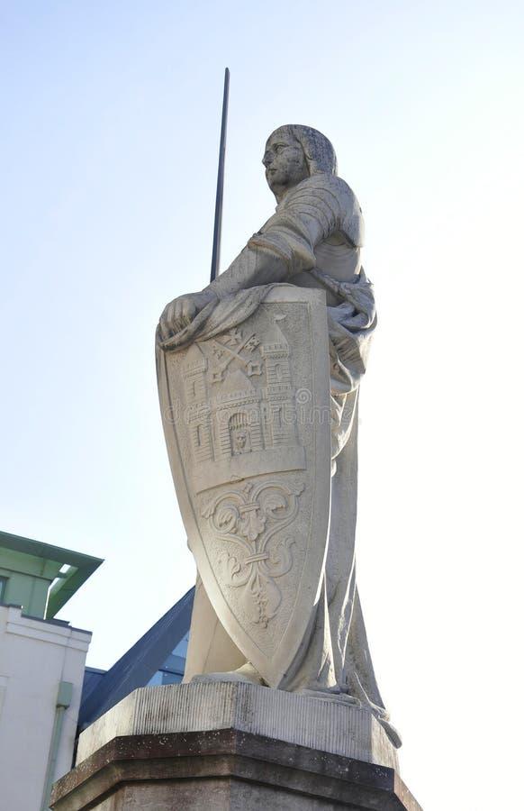 里加威严22 2014年-圣徒从里加的罗兰特雕象在拉脱维亚 免版税图库摄影