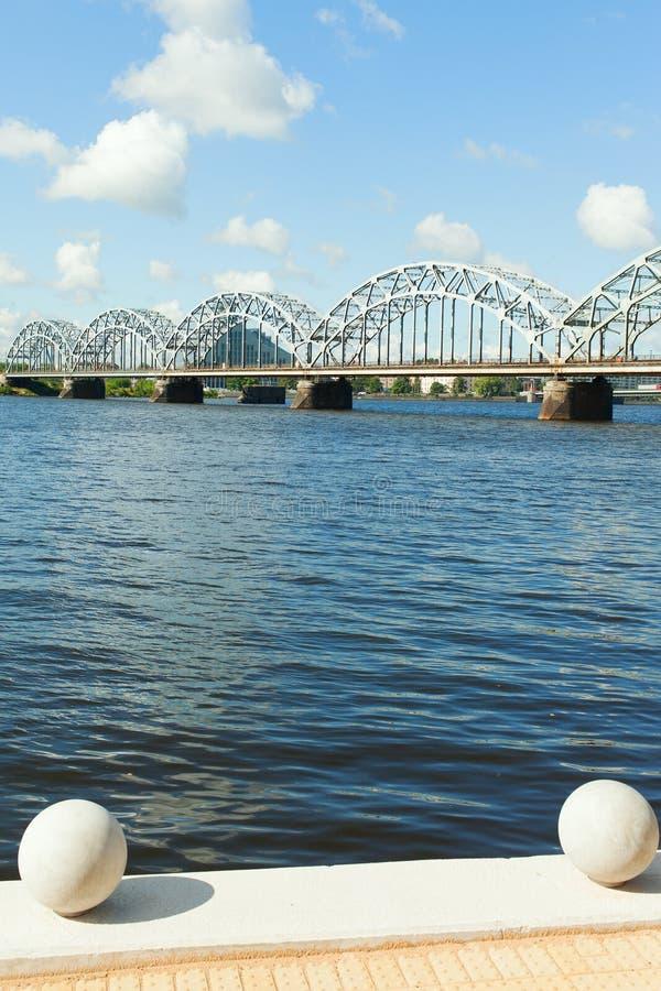 里加铁路桥,拉脱维亚。 免版税库存照片